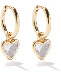 Theodora Warre Heart Quartz & Gold-plated Hoop Earrings - Metallic