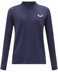 Castore Haut de jogging en jersey rayé à imprimé logo - Bleu