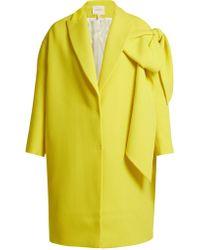 Delpozo - Bow Embellished Wool Coat - Lyst