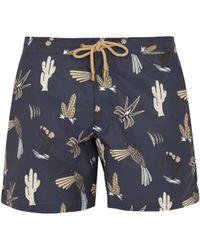 Thorsun Titan-fit Mexican Hawaiian-print Swim Shorts - Blue