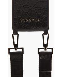 Versace クロコダイルパターンレザー Iphone 12 ケース - ブラック