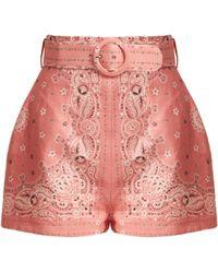 Zimmermann - Heathers Bandana Print Linen Shorts - Lyst