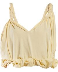 Marni - Twisted Shoulder Cotton Crop Top - Lyst