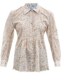 Thierry Colson Winston Pintucked Floral-print Cotton Blouse - Brown