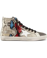 Golden Goose Deluxe Brand - Francy High Top Python Effect Trainers - Lyst