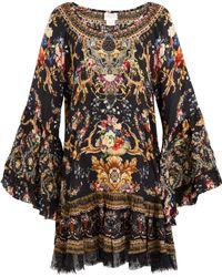 Camilla - Printed A-line Frill Dress W/ Lace - Lyst