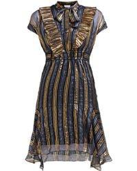 Peter Pilotto - Metallic Striped Silk Blend Chiffon Dress - Lyst