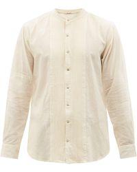 Péro Collarless Bib-front Cotton Shirt - Natural