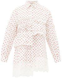 4 MONCLER SIMONE ROCHA - Floral-print Lace-trimmed Cotton Blouse - Lyst