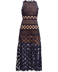 Self-Portrait Floral Crochet Dress - Blue