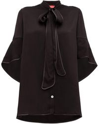 F.R.S For Restless Sleepers - Diana Pussy-bow Hammered-satin Blouse - Womens - Black - Lyst