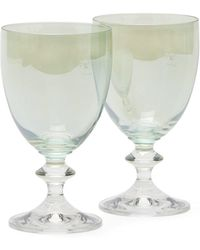 Luisa Beccaria Set Of Two Baluster Stem Wine Glasses - Green