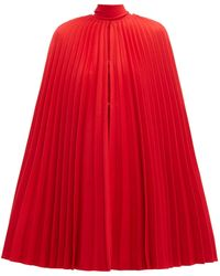Valentino Pleated Virgin-wool Cape - Red