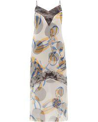 Marina Moscone Geometric-print Silk-blend Organza Midi Dress - Blue