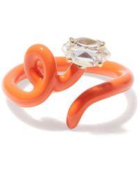 Bea Bongiasca Baby Vine Crystal, 9kt Gold & Enamel Ring - Orange