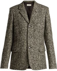 Saint Laurent - Single Breasted Herrigbone Wool Blazer - Lyst