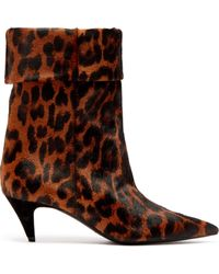 e38f95d3220 Charlotte Leopard Print Calf Hair Ankle Boots - Brown