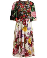 7720728a Dolce & Gabbana Daisy And Poppy Print Dress in Red - Save 9% - Lyst