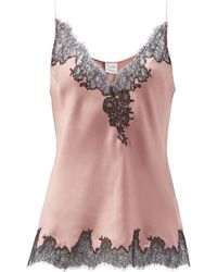 Carine Gilson V-neck Lace-trimmed Silk-satin Camisole - Brown
