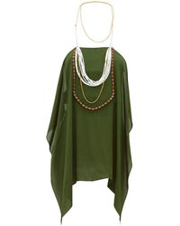 Jacquemus Bijoux Beaded Halterneck Chiffon Top - Green