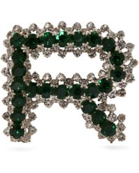 Rochas R Initial Crystal Embellished Brooch - Green