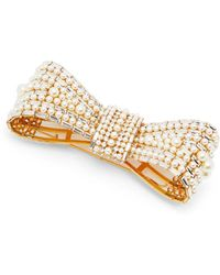 Dolce & Gabbana Crystal And Faux Pearl Embellished Bow Brooch - Multicolour