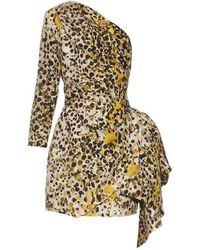Roberto Cavalli - One-shoulder Cheetah-print Silk Dress - Lyst