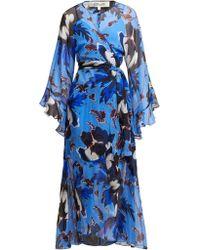 Diane von Furstenberg Robe en soie à imprimé floral Lizella - Bleu