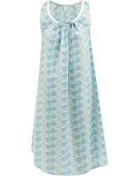 Domi Chemise de nuit en coton à imprimé floral - Bleu