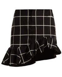 Marques'Almeida - Checked Ruffled-hem Cotton-blend Mini Skirt - Lyst