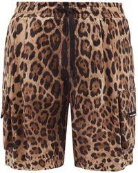 Dolce & Gabbana レオパード コットンカーゴショートパンツ - マルチカラー