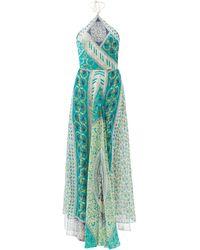 Etro パッチワークプリント シルクジョーゼットドレス - ブルー