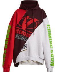 Vetements Deconstructed Hooded Sweatshirt - Red