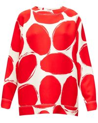 Marni Abstract Elbow-patch Polka-dot Sweatshirt - Red
