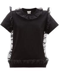 Noir Kei Ninomiya Organza Ruffle-trim Cotton T-shirt - Black