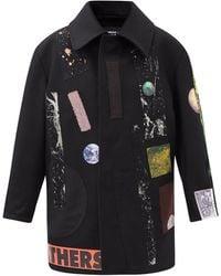Raf Simons Aw14 Sterling Ruby Appliqué Wool Coat - Black