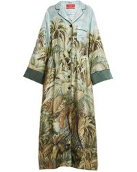 F.R.S For Restless Sleepers - Oneiroi Palm-tree Print Silk-twill Robe - Lyst