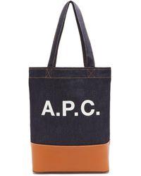 A.P.C. アクセル レザートリム デニムバッグ - ブルー