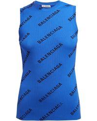 Balenciaga - Logo Print Ribbed Knit Sleeveless Top - Lyst