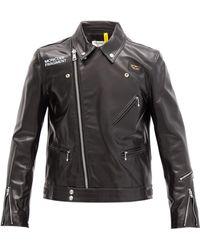 7 MONCLER FRAGMENT Dwayne Lewis Logo-print Leather Biker Jacket - Black
