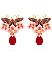 Dolce & Gabbana - Butterfly And Crystal Drop Clip Earrings - Lyst