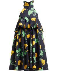 LaDoubleJ Bonbon Trapeze Calla Lilly Print Cotton Midi Dress - Black