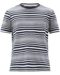 Albam ハリソン ボーダーコットンtシャツ - ブルー