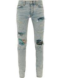 Amiri Mx1 Tie-dye Distressed Skinny-leg Jeans - Blue