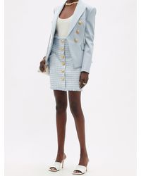 Balmain ハイライズ ボタン ツイードミニスカート - ブルー