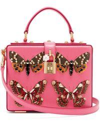 Dolce & Gabbana - Sac à main rigide en cuir à imprimé papillons - Lyst