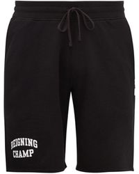 Reigning Champ Logo-print Jersey-fleece Shorts - Black