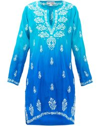 Juliet Dunn Embroidered Silk Kaftan - Blue