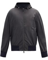 Giorgio Armani Hooded Leather Bomber Jacket - Blue