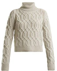Nili Lotan - Roll-neck Cable-knit Wool-cashmere Blend Jumper - Lyst